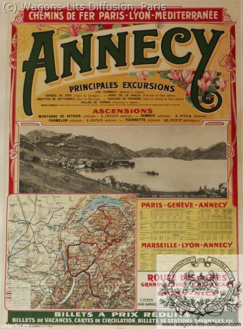 PLM Annecy affiche ferroviaire (Ref N° 65