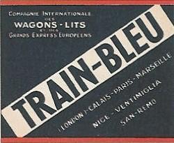 Etiquette bagage train bleu