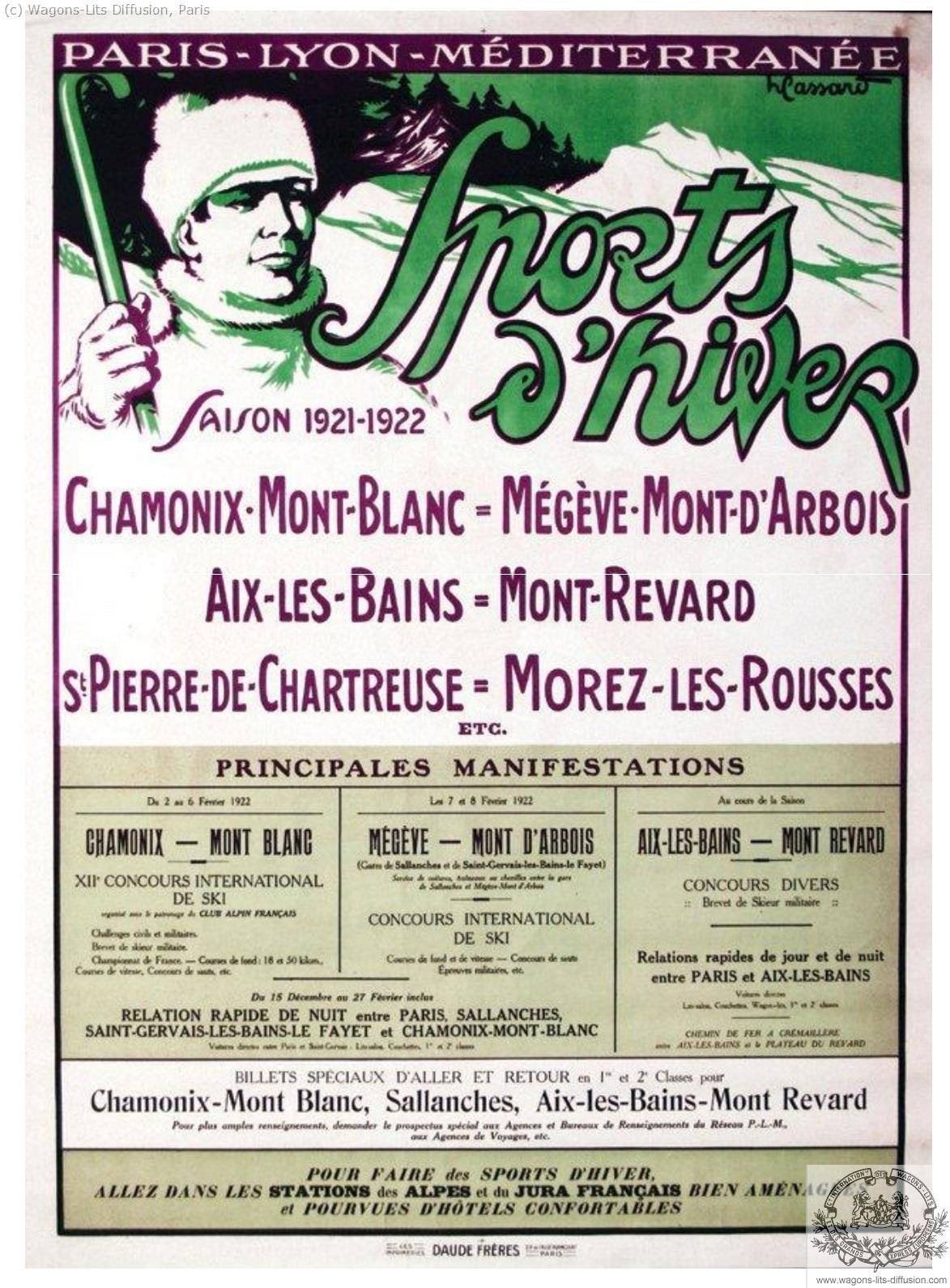 PLM Chamonix Aix Mont Revard Horaires 1921