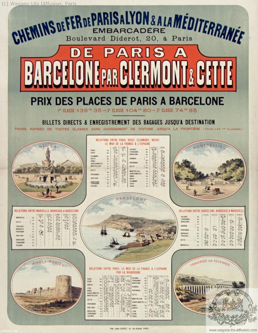 PLM De Paris Barcelone par Clermont Ref 1064