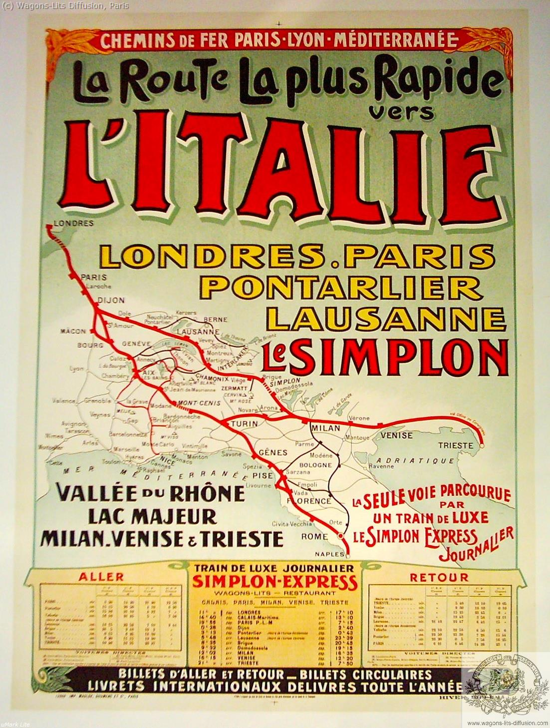PLM Italie Route la plus rapide Ref 1115
