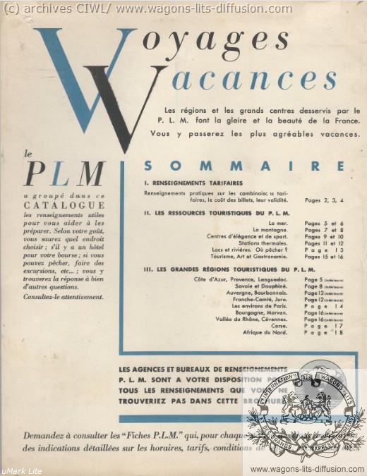 PLM vacances brochure 1936 2
