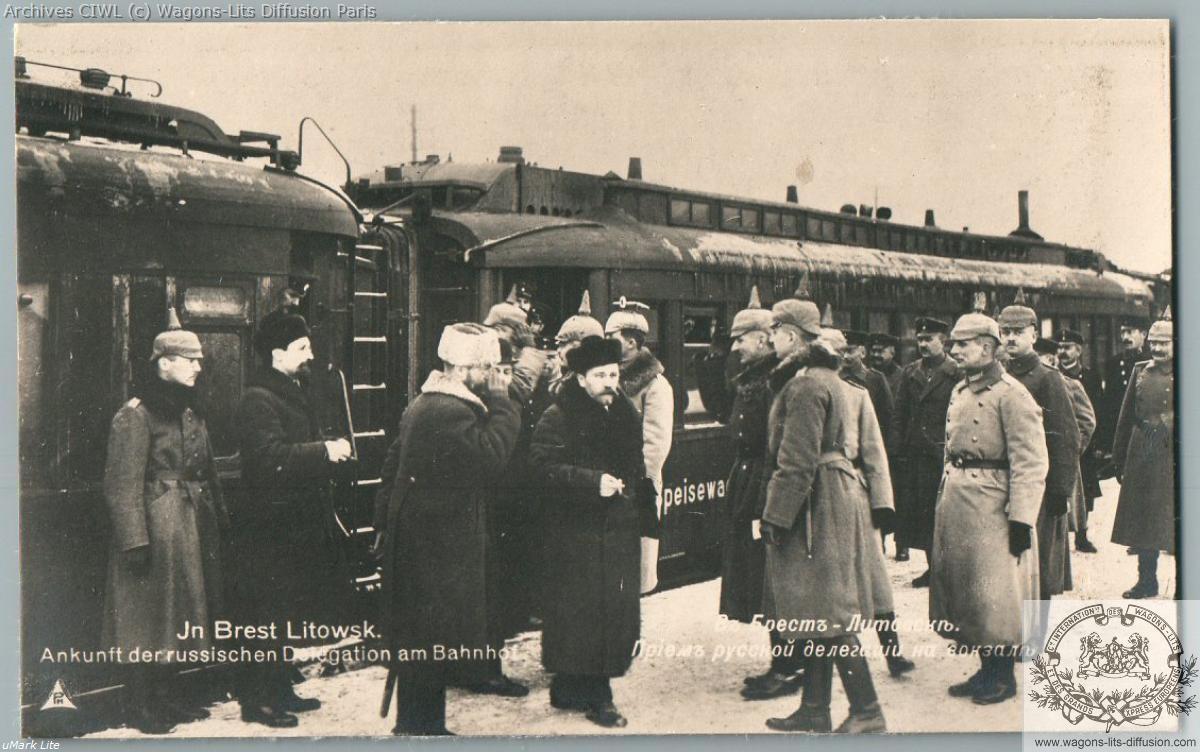 Wl 1918 brest litovsk treaty accueil delegation russe avec trotsky