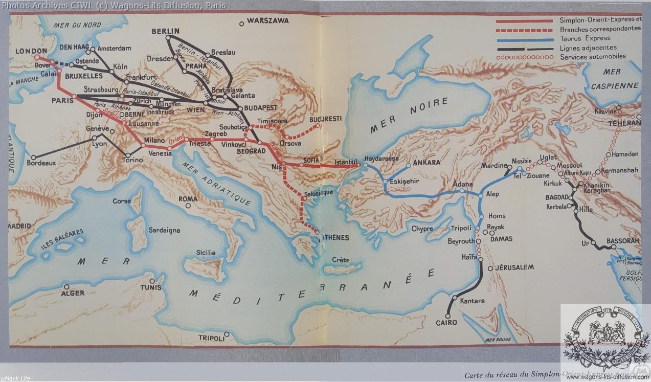 Wl carte des services orient express 1930