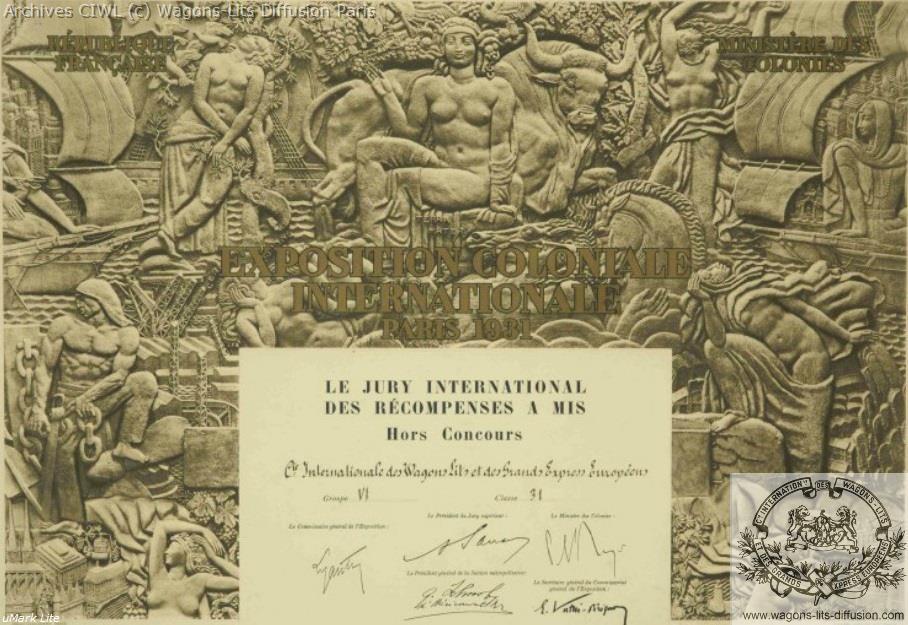Wl expo coloniale 1931 prix ciwl 1