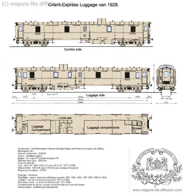 Wl fourgon 1286 orient express luggage van 1928