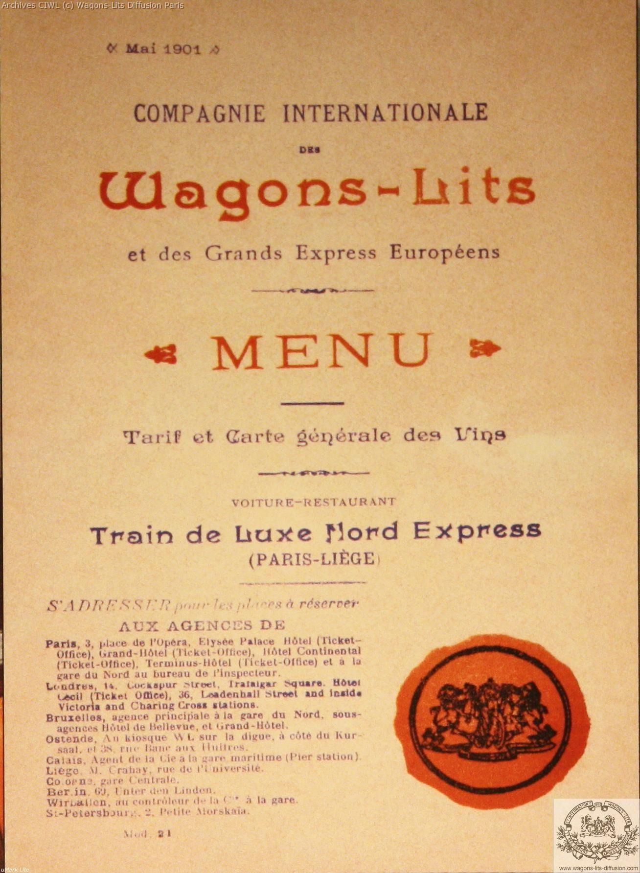 Wl menu nord express 1901