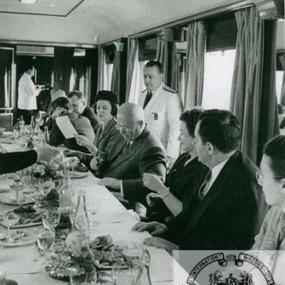 Wl nikita khrushchev and gromyko presidential dining car of ciwl from lille to rouen in 1960