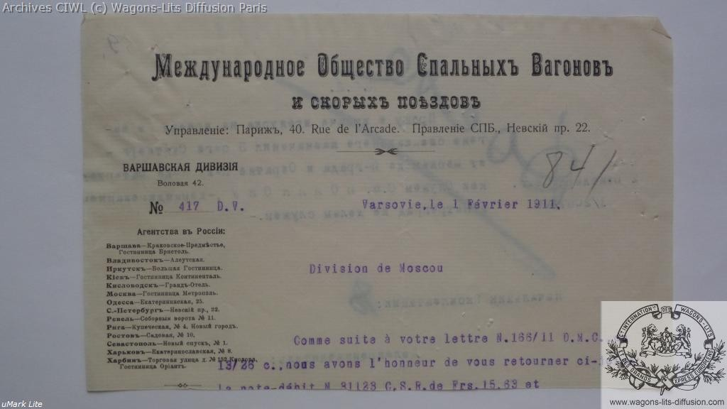 Wl russie courrier 1911