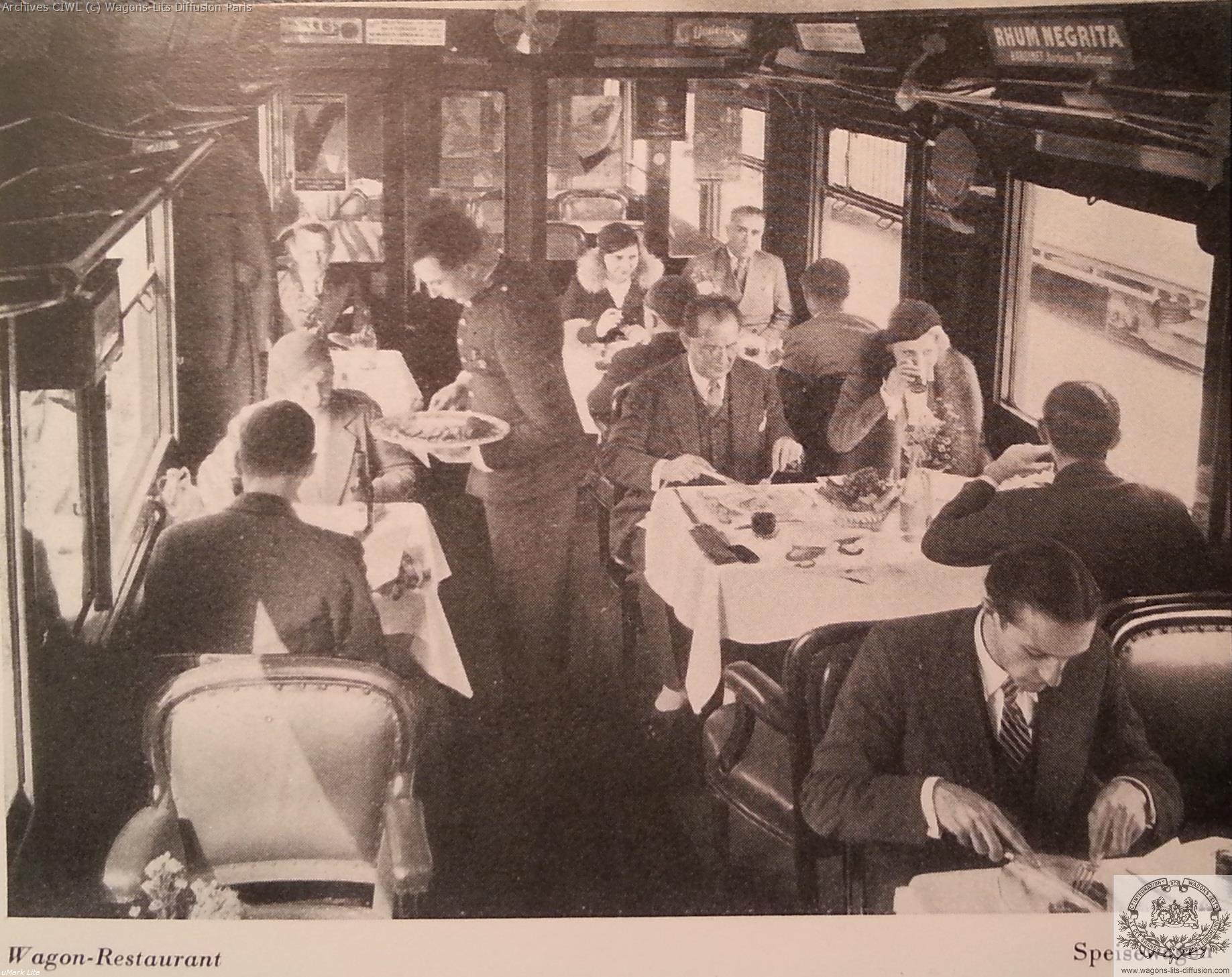 Wl service en voiture restaurnat vers 1950