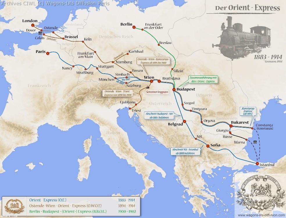 Wl trajet orient express 1883 a 1915